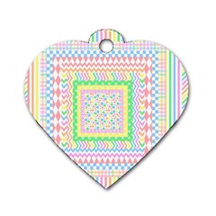 Layered Pastels Dog Tag Heart (One Sided)