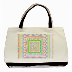 Layered Pastels Twin-sided Black Tote Bag