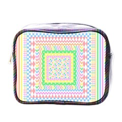 Layered Pastels Mini Travel Toiletry Bag (One Side)