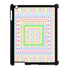 Layered Pastels Apple iPad 3/4 Case (Black)