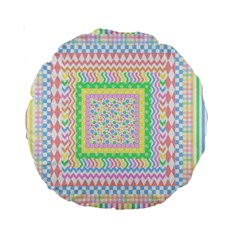 Layered Pastels 15  Premium Round Cushion
