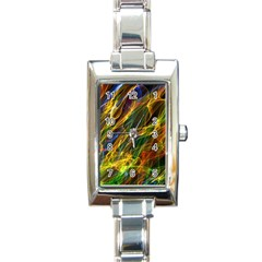 Colourful Flames  Rectangular Italian Charm Watch