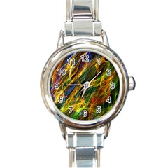 Colourful Flames  Round Italian Charm Watch