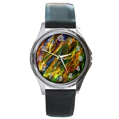 Colourful Flames  Round Leather Watch (Silver Rim)