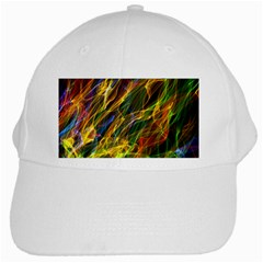 Colourful Flames  White Baseball Cap