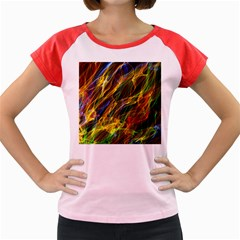 Colourful Flames  Women s Cap Sleeve T-Shirt (Colored)