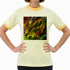 Colourful Flames  Women s Ringer T Shirt (colored)