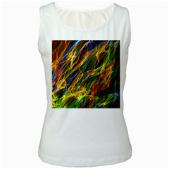 Colourful Flames  Women s Tank Top (White)