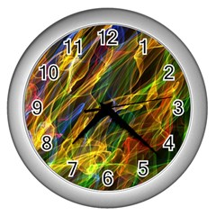 Colourful Flames  Wall Clock (Silver)