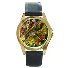 Colourful Flames  Round Leather Watch (Gold Rim)