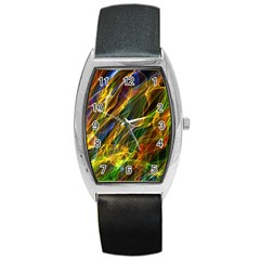Colourful Flames  Tonneau Leather Watch