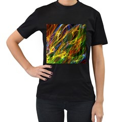 Colourful Flames  Women s Two Sided T-shirt (Black)
