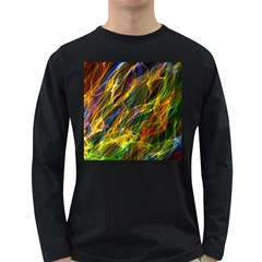 Colourful Flames  Men s Long Sleeve T Shirt (dark Colored)