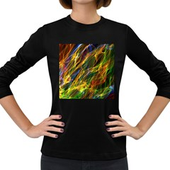 Colourful Flames  Women s Long Sleeve T-shirt (Dark Colored)