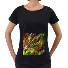 Colourful Flames  Women s Loose Fit T Shirt (black)