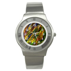 Colourful Flames  Stainless Steel Watch (Slim)
