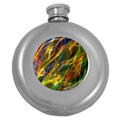 Colourful Flames  Hip Flask (Round)