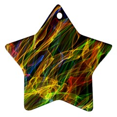 Colourful Flames  Star Ornament (Two Sides)