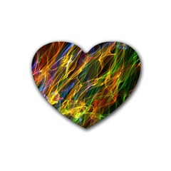 Colourful Flames  Drink Coasters 4 Pack (heart)