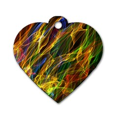 Colourful Flames  Dog Tag Heart (one Sided)