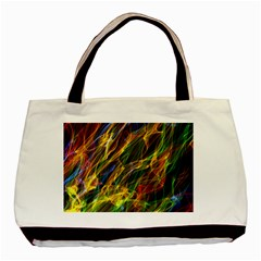 Colourful Flames  Twin Sided Black Tote Bag