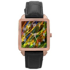 Colourful Flames  Rose Gold Leather Watch