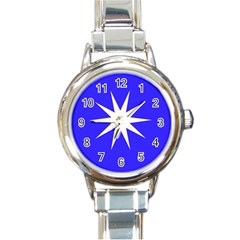 Deep Blue And White Star Round Italian Charm Watch