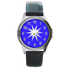 Deep Blue And White Star Round Leather Watch (Silver Rim)