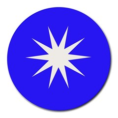 Deep Blue And White Star 8  Mouse Pad (Round)