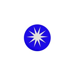 Deep Blue And White Star 1  Mini Button Magnet