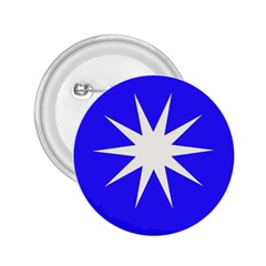 Deep Blue And White Star 2.25  Button