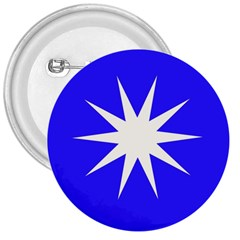 Deep Blue And White Star 3  Button