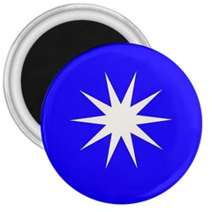 Deep Blue And White Star 3  Button Magnet