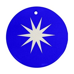 Deep Blue And White Star Round Ornament