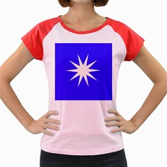 Deep Blue And White Star Women s Cap Sleeve T Shirt (colored)
