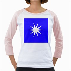 Deep Blue And White Star Women s Long Cap Sleeve T-Shirt (White)