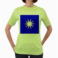Deep Blue And White Star Women s T-shirt (Green)