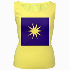 Deep Blue And White Star Women s Tank Top (Yellow)