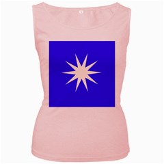 Deep Blue And White Star Women s Tank Top (Pink)