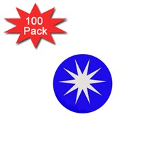 Deep Blue And White Star 1  Mini Button (100 Pack)