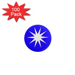 Deep Blue And White Star 1  Mini Button Magnet (100 pack)