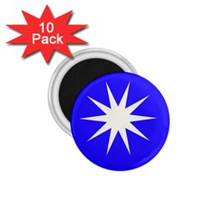 Deep Blue And White Star 1 75  Button Magnet (10 Pack)