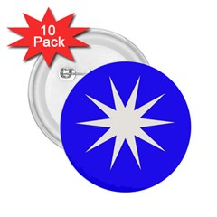Deep Blue And White Star 2.25  Button (10 pack)