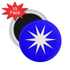 Deep Blue And White Star 2.25  Button Magnet (10 pack)