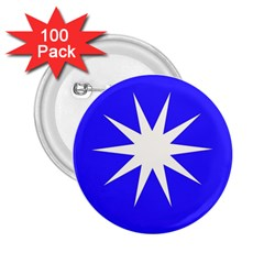 Deep Blue And White Star 2.25  Button (100 pack)