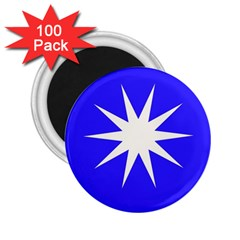 Deep Blue And White Star 2.25  Button Magnet (100 pack)