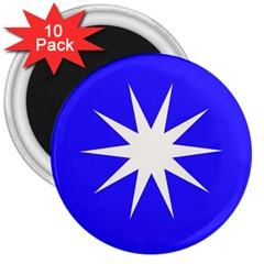 Deep Blue And White Star 3  Button Magnet (10 pack)