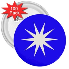 Deep Blue And White Star 3  Button (100 pack)