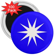 Deep Blue And White Star 3  Button Magnet (100 pack)