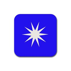 Deep Blue And White Star Drink Coaster (Square)